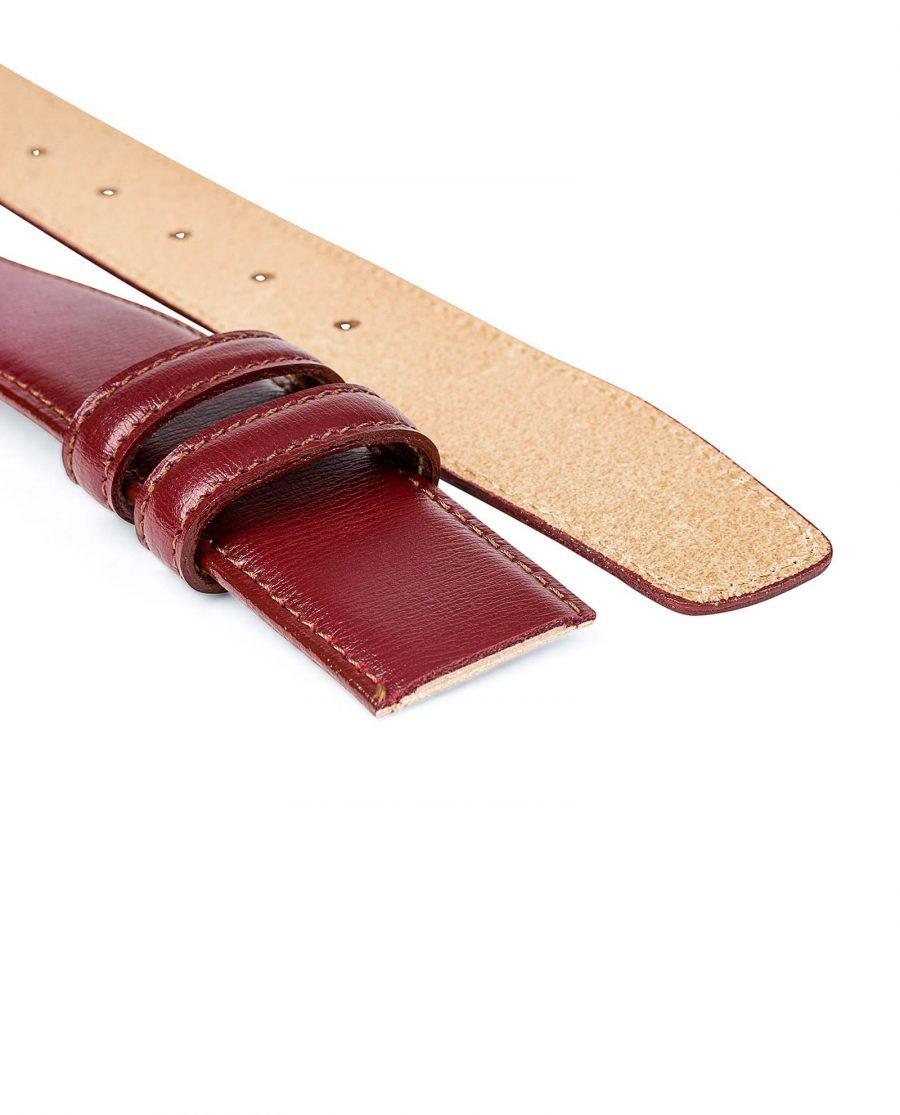 Burgundy-Belt-No-Buckle-Strap-Both-ends