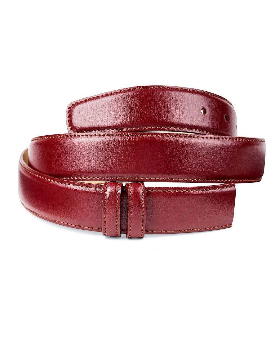 Burgundy-Belt-No-Buckle-Strap-Rolled