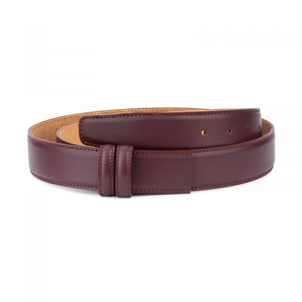 Burgundy Belt Without Buckle Replacement strap 1