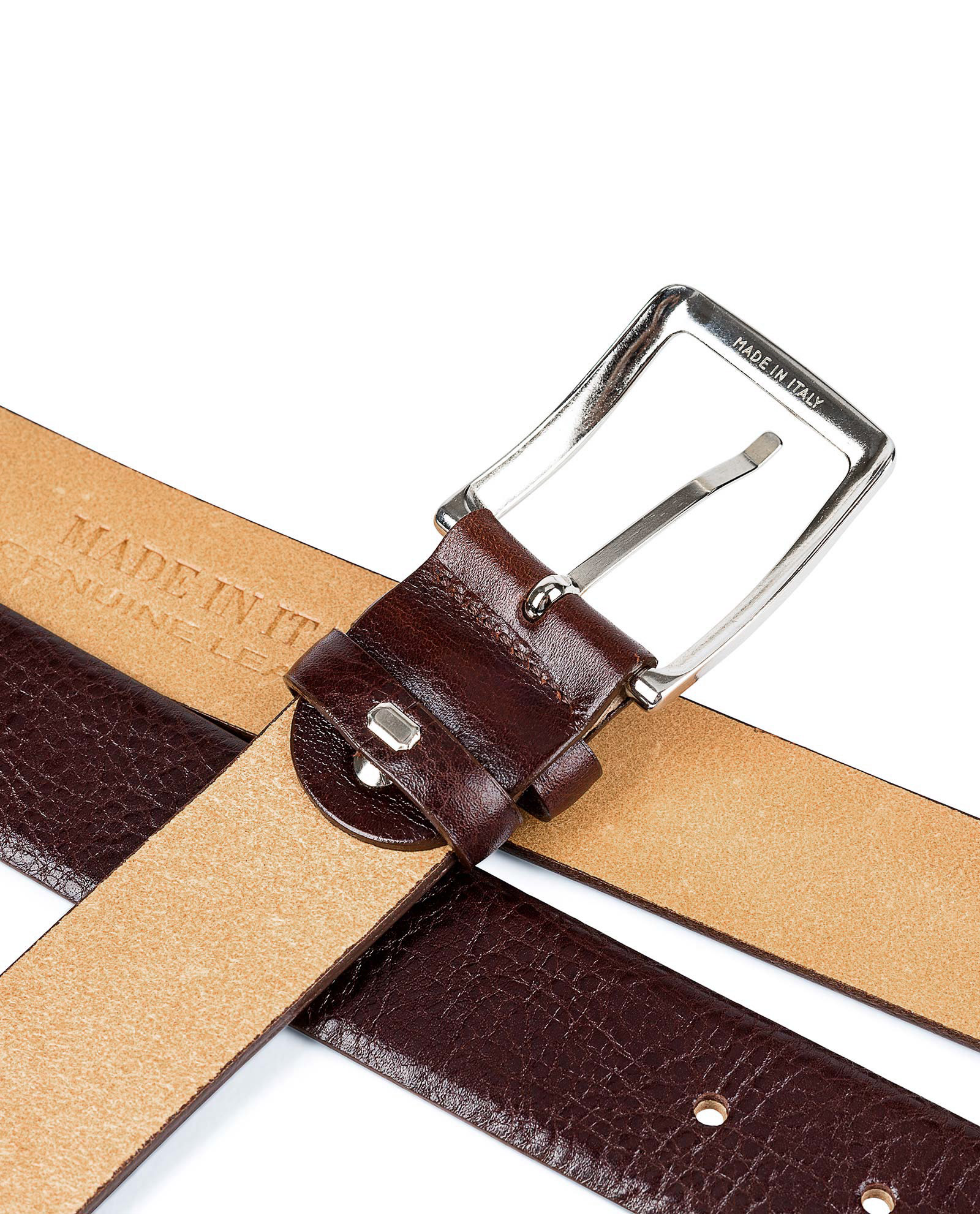 Capo-Pelle-Cognac-Brown-Leather-Belt-First-image-Buckle-picture