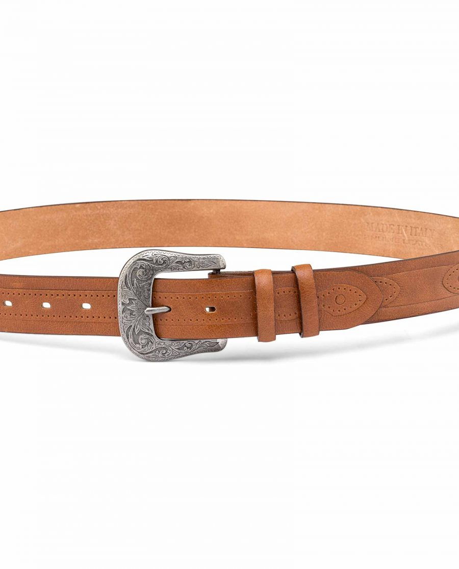 Classic-Western-Belt-Antique-silver-buckle-On-jeans