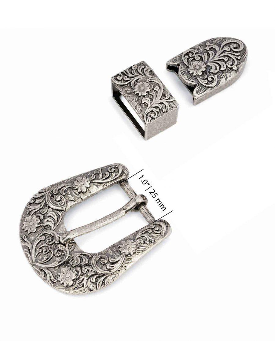 Cowboy-Western-Belt-Buckle-Silver-Antique-25-mm-Strap-fit