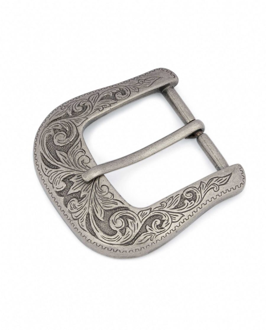 Cowboy-belt-buckle-Western-antique-silver-Heavy-filled-Thick
