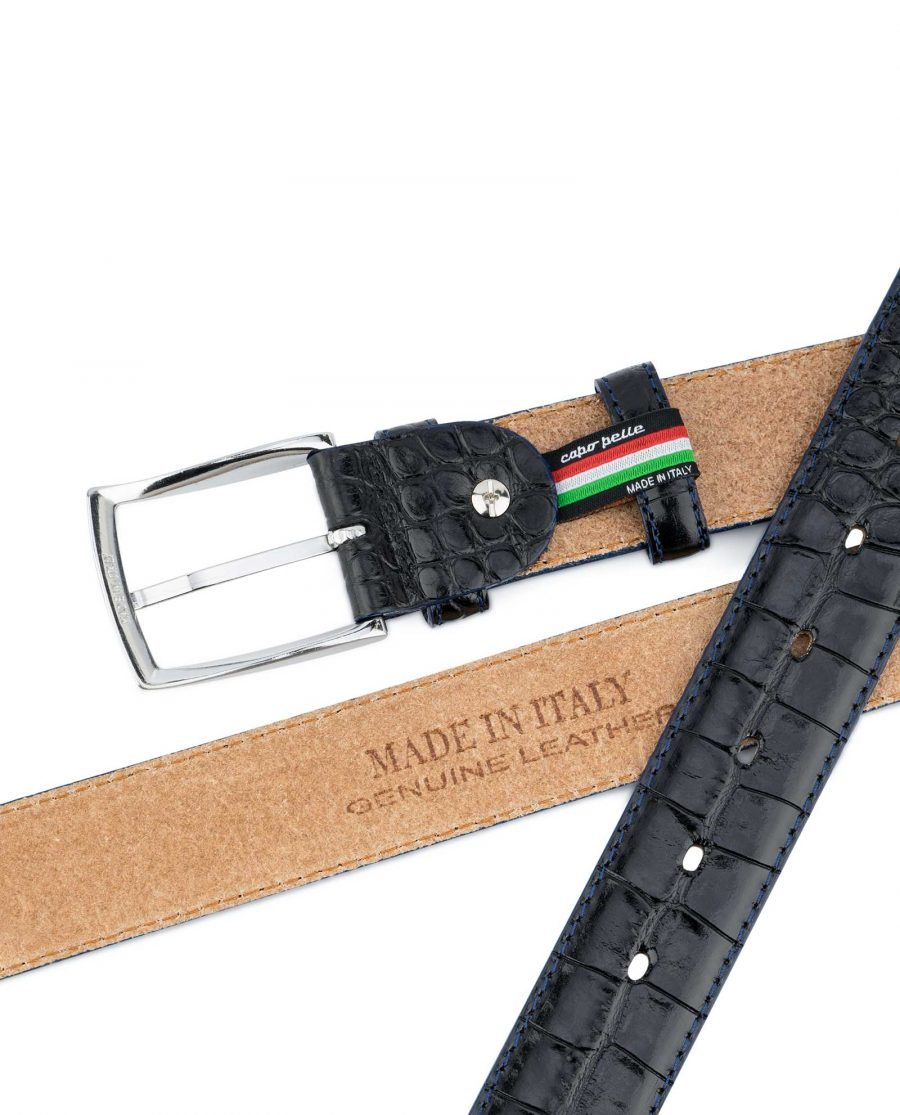 Croco-Embossed-Patent-Leather-Belt-Mens-Capo-Pelle-Heat-Stamp