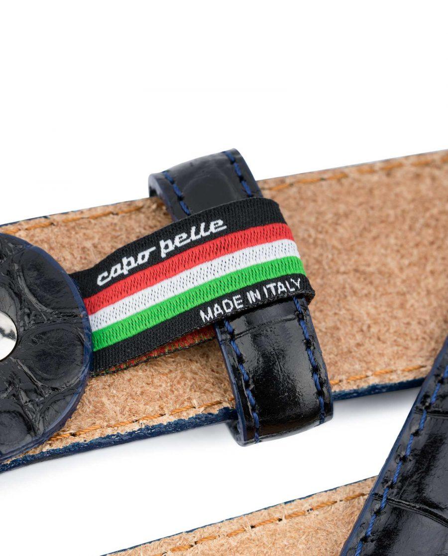 Croco-Embossed-Patent-Leather-Belt-Mens-Capo-Pelle-Loop-holder