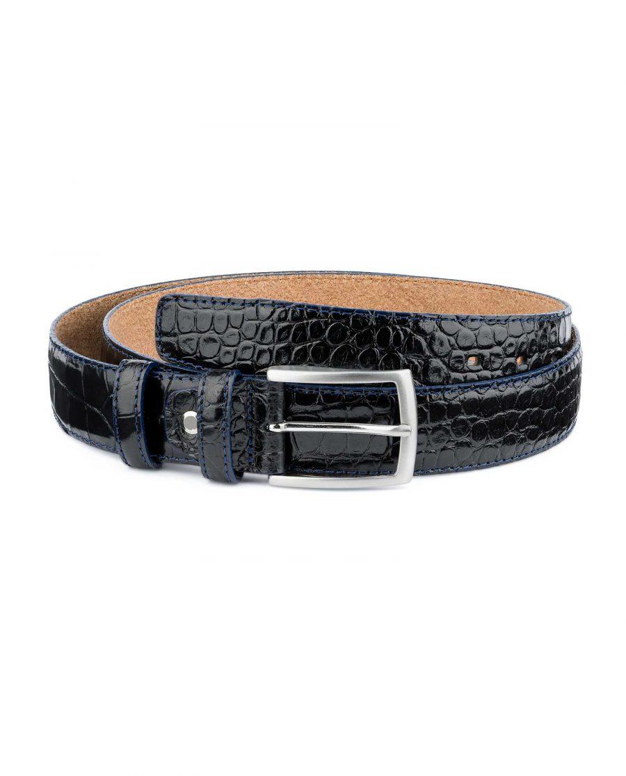 Croco-Embossed-Patent-Leather-Belt-Mens-Capo-Pelle-Main-picture