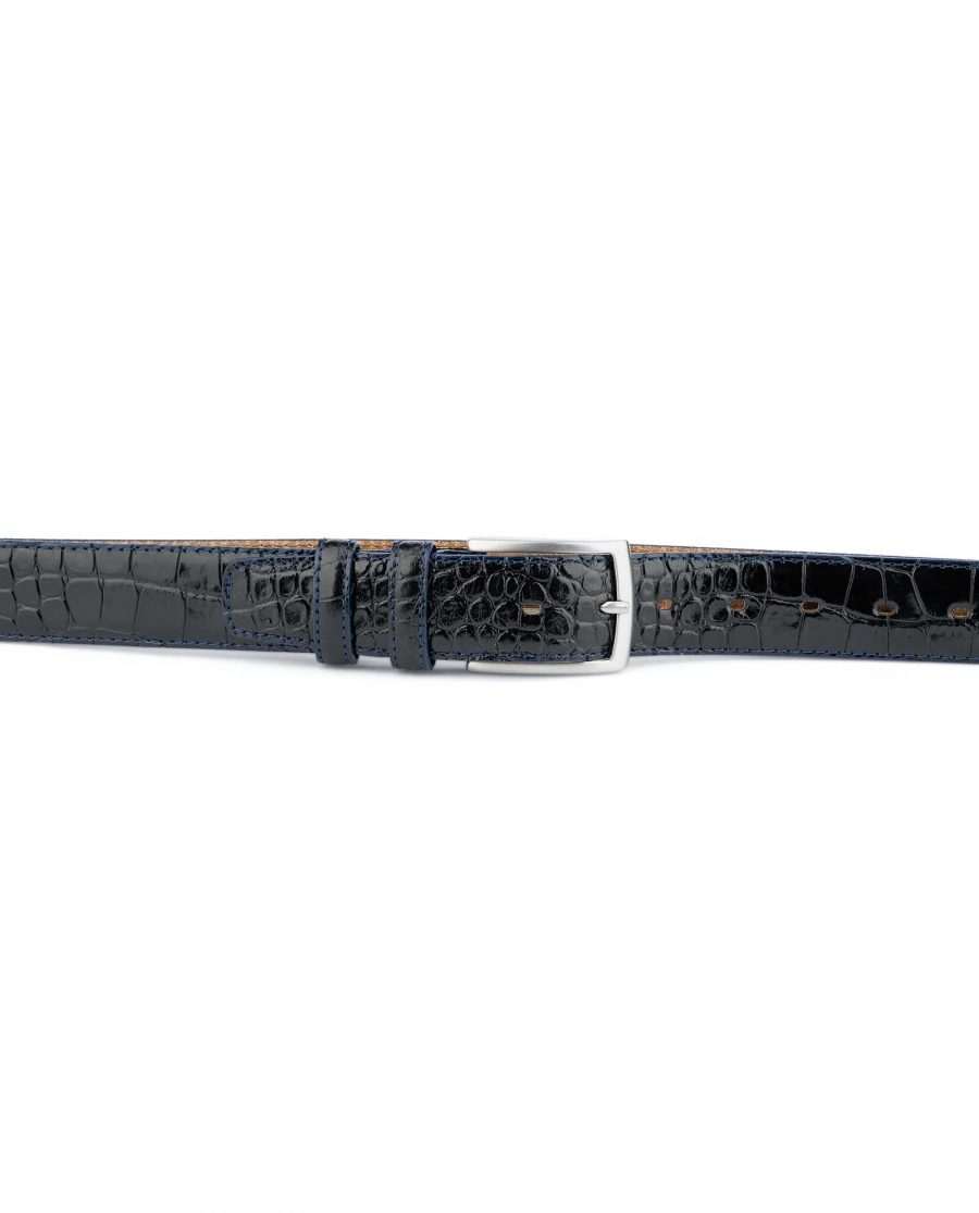 Croco-Embossed-Patent-Leather-Belt-Mens-Capo-Pelle-On-trousers