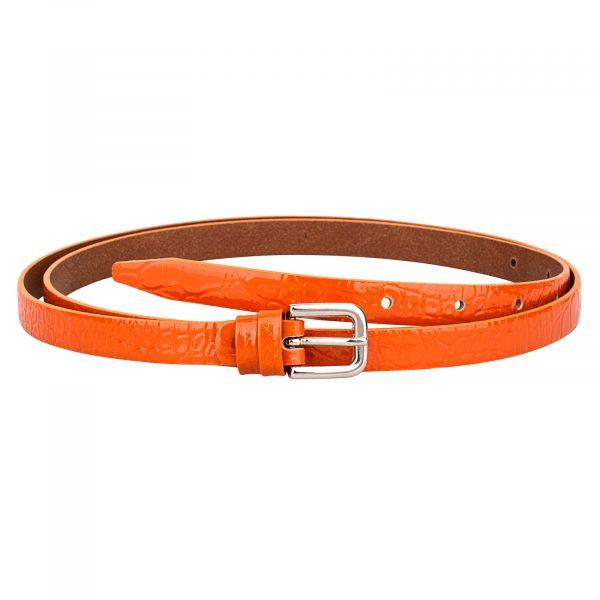 Croco-orange-skinny-belt-1