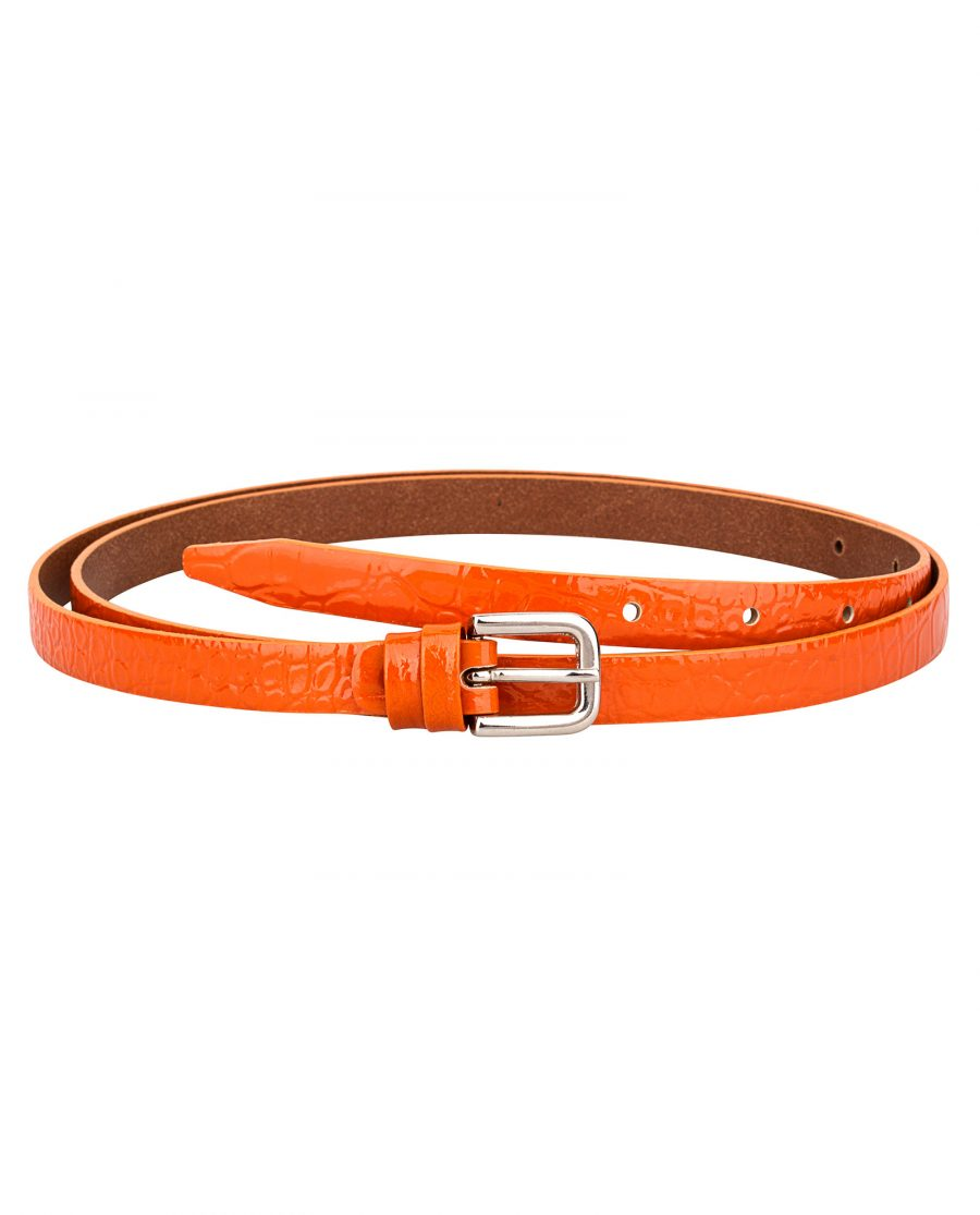 Croco-orange-skinny-belt-1