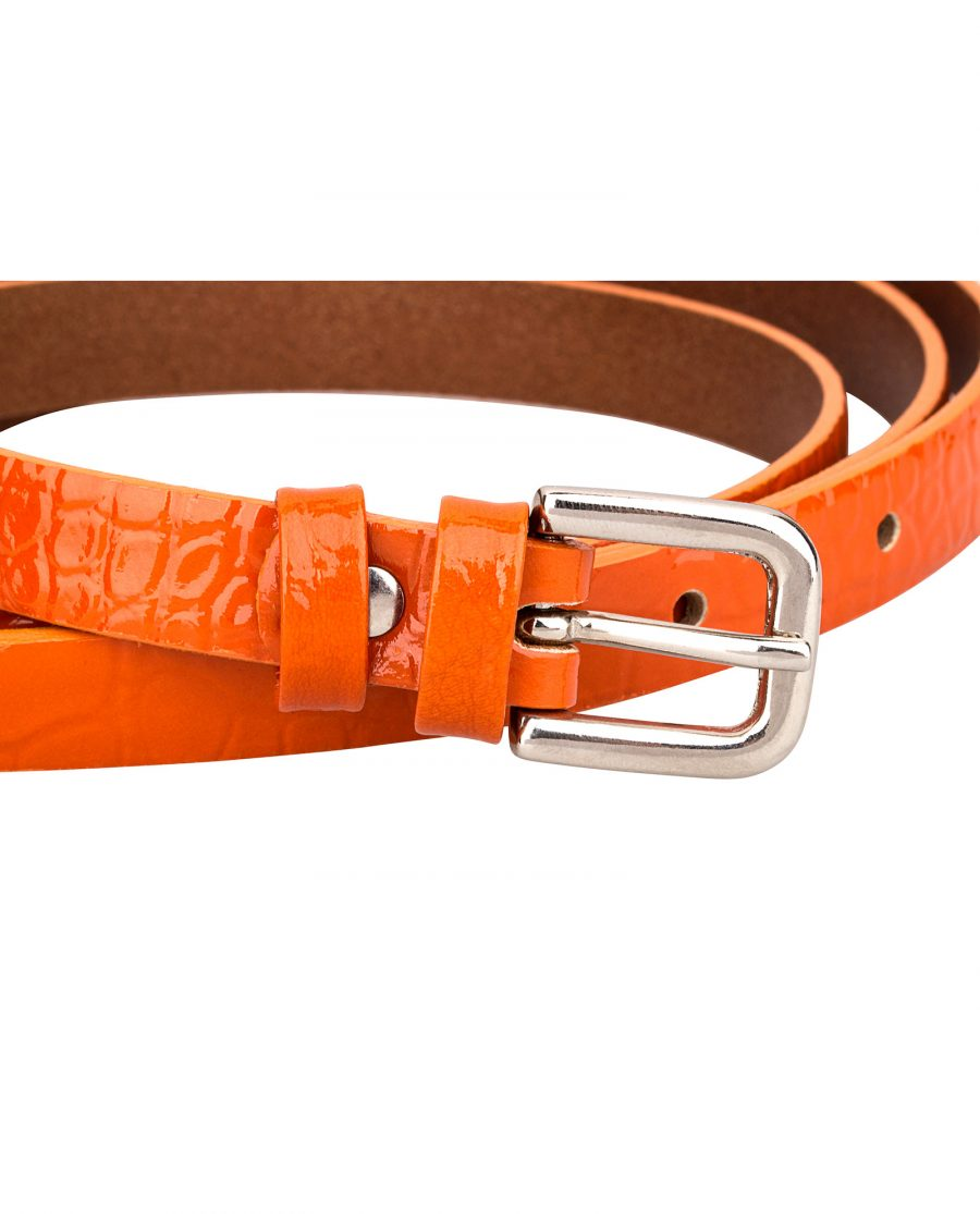 Croco-orange-skinny-belt-buckle-1