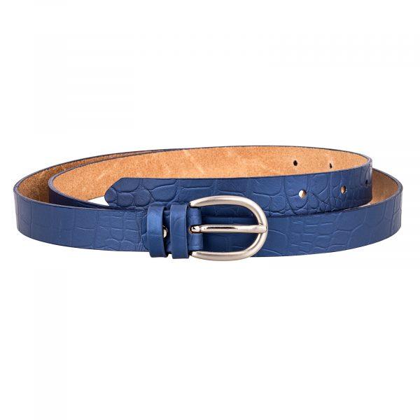 Crocodile-Emboss-Blue-Skinny-Belt-Front-Image