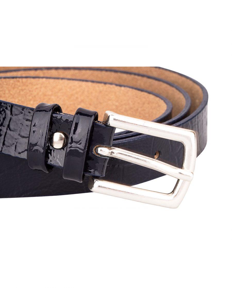 Crocodile-Emboss-Skinny-Belt-Dark-Blue-Buckle