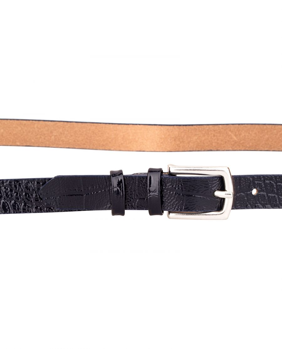 Crocodile-Emboss-Skinny-Belt-Dark-Blue-Buckle-On-pants