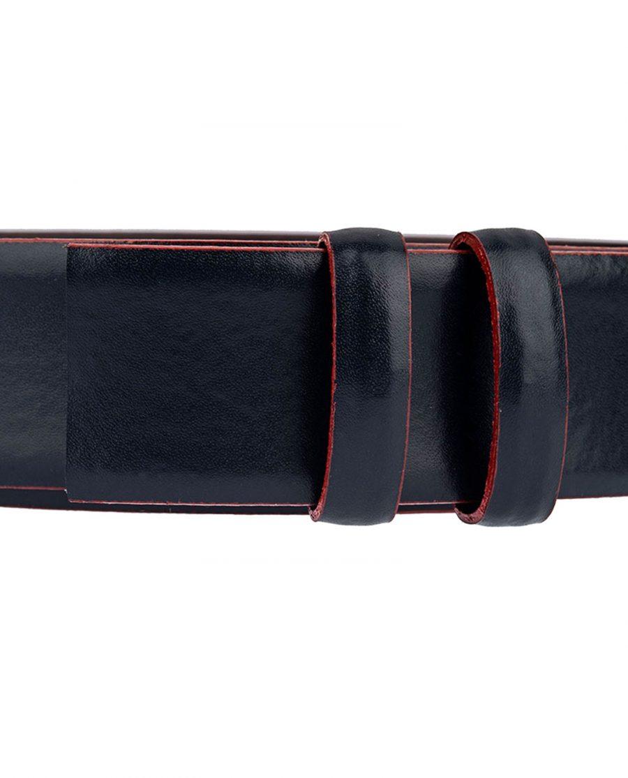 Dark-Blue-Leather-Strap-Red-Edges-Close