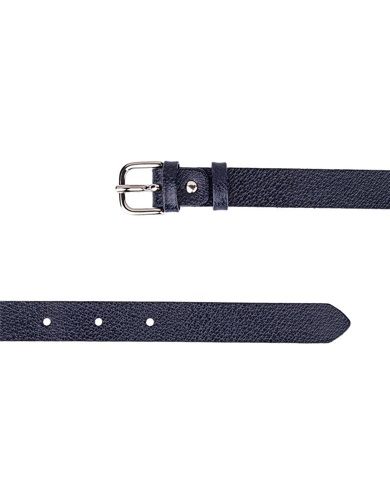 Dark-Blue-Skinny-Belt-With-Texture-Both-Ends