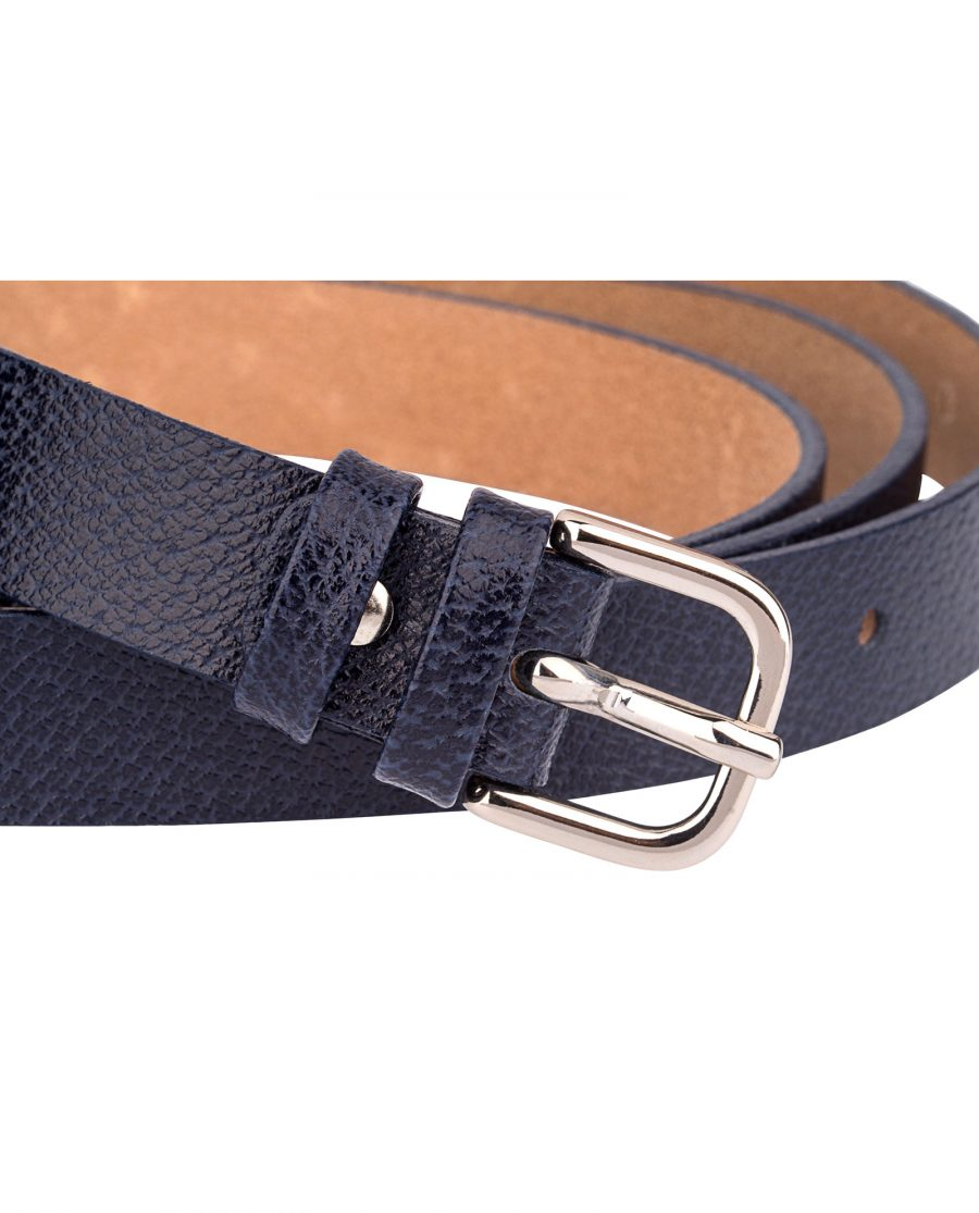 Dark-Blue-Skinny-Belt-With-Texture-Buckle