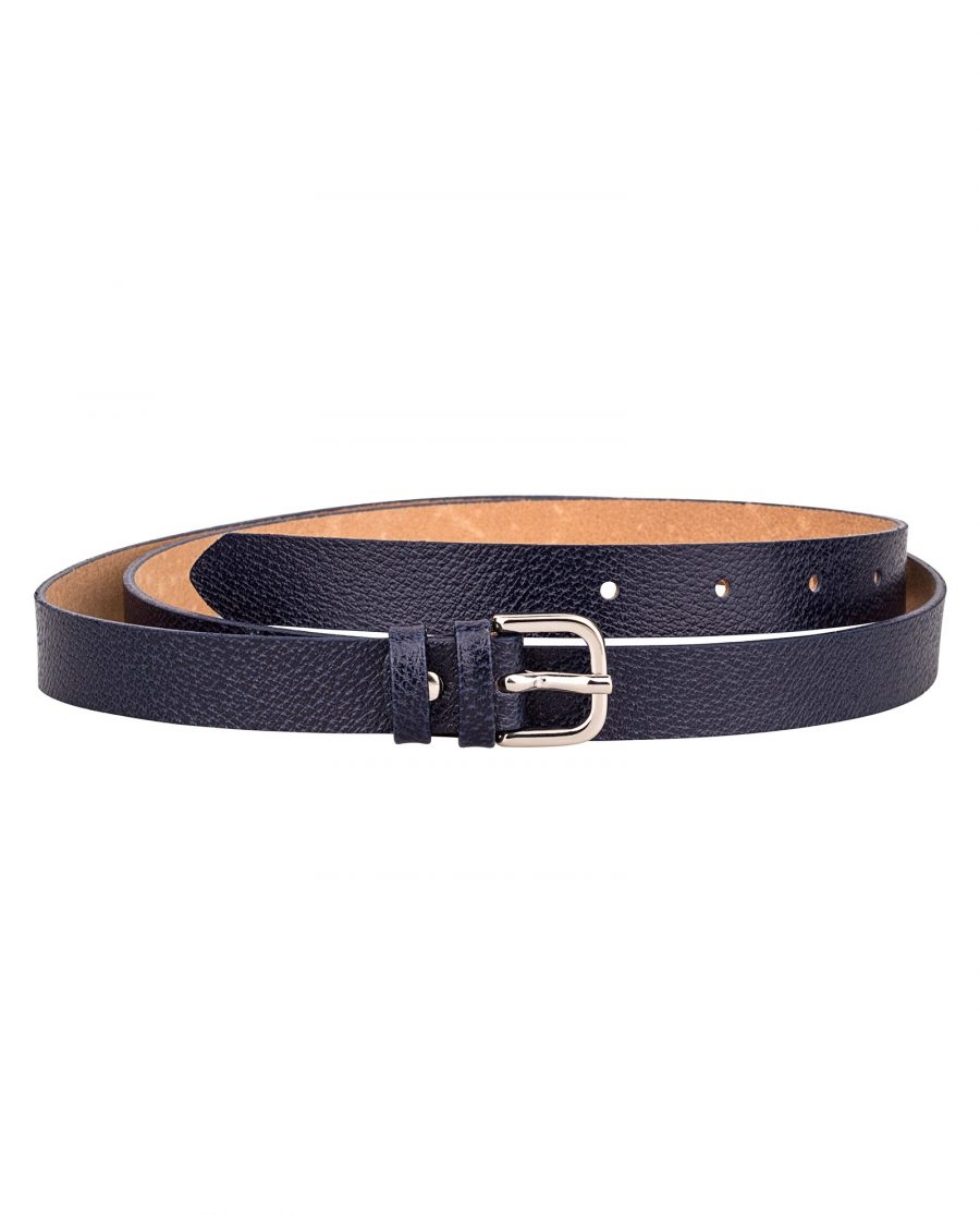 Dark-Blue-Skinny-Belt-With-Texture-Front