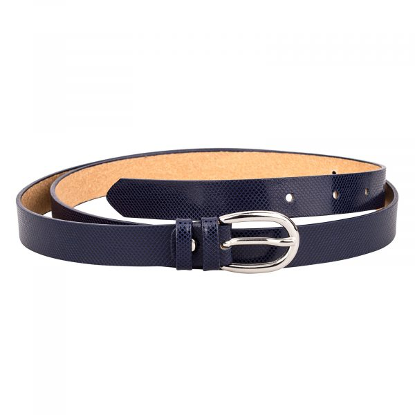 Dark-Blue-Snake-Emboss-Skinny-Leather-Belt-Front-Image