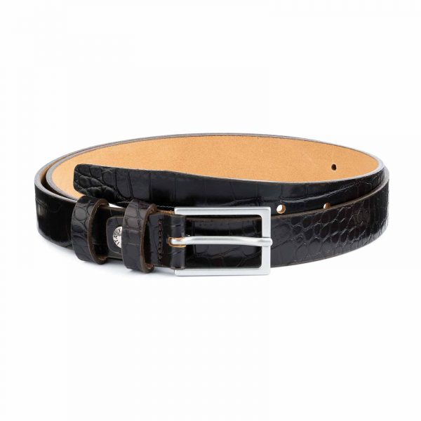 Dark-Brown-Croco-Belt-Embossed-leather-1-inch-Capo-Pelle