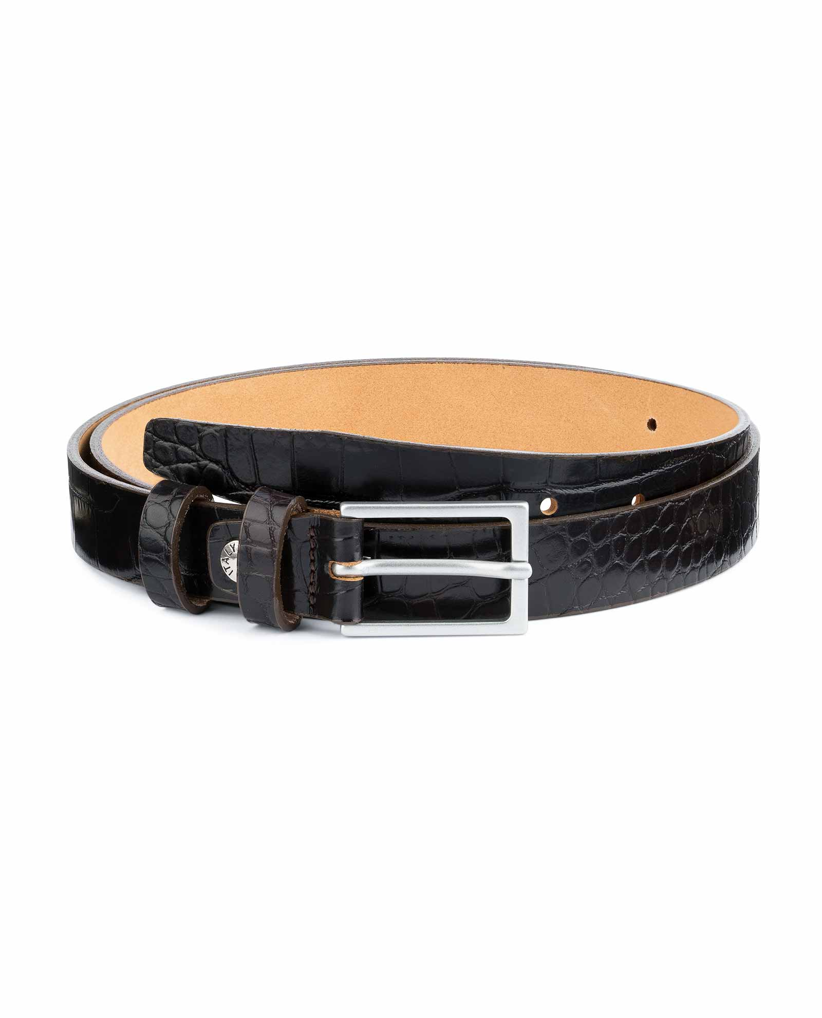 Dark-Brown-Croco-Belt-Embossed-leather-1-inch-Capo-Pelle