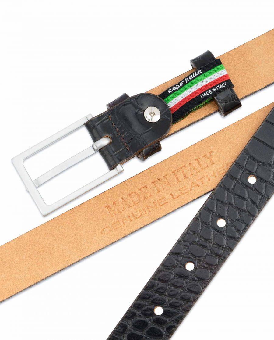 Dark-Brown-Croco-Belt-Embossed-leather-1-inch-Italian