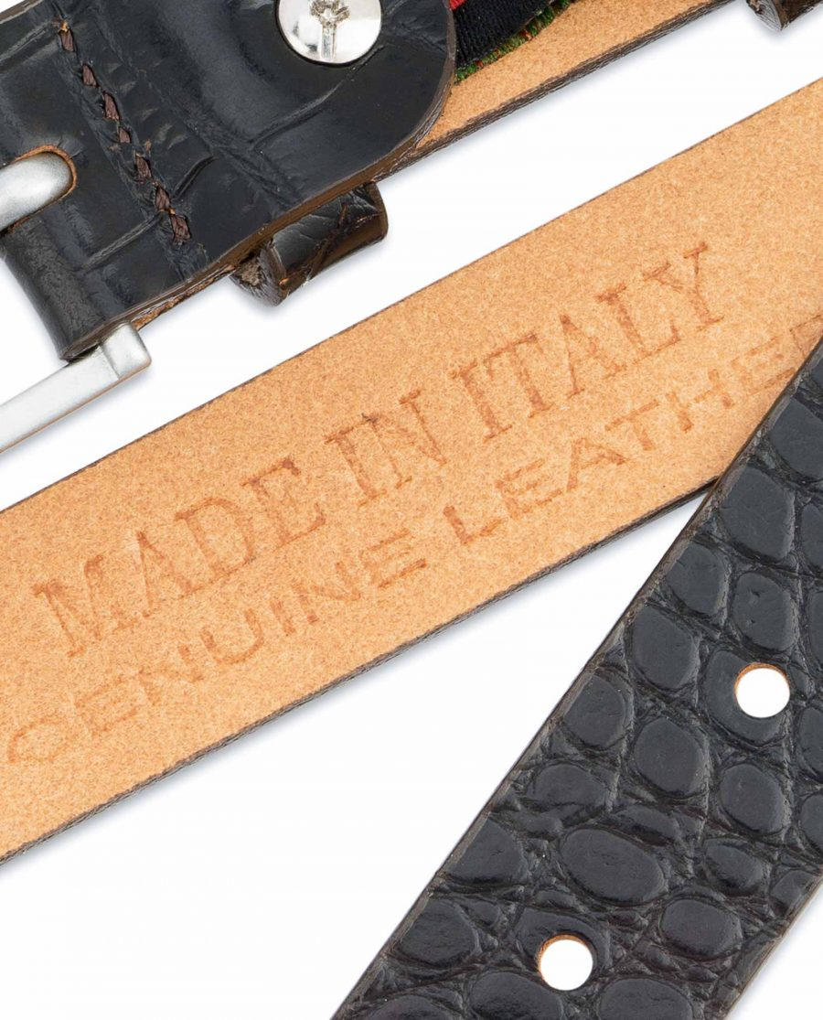 Dark-Brown-Croco-Belt-Embossed-leather-1-inch-Made-in-Italy