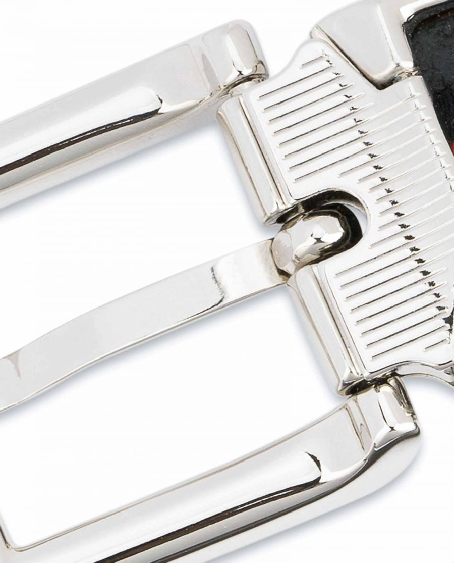 Dark-Brown-Leather-Belt-25-mm-Italian-Buckle-Silver-nickel