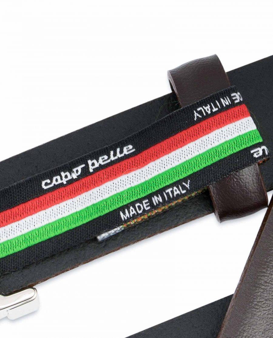 Dark-Brown-Leather-Belt-25-mm-Italian-Buckle-Woven-tag