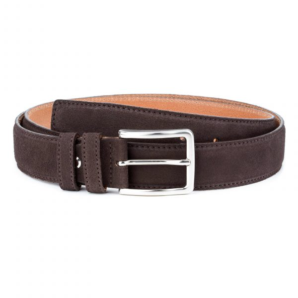 Dark-Brown-Suede-Belt-35-mm-Genuine-Leather-Capo-Pelle-Main-image