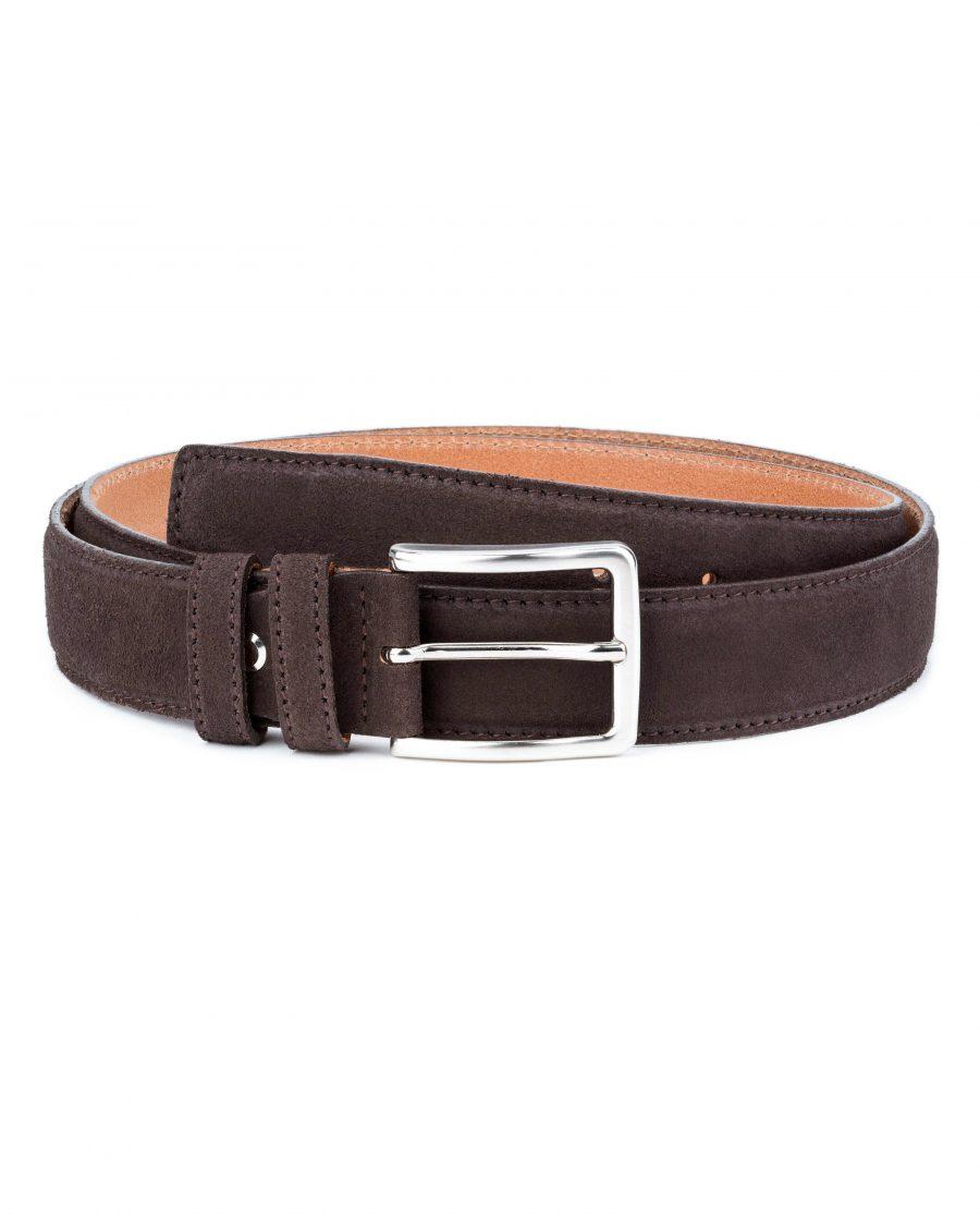 Dark-Brown-Suede-Belt-35-mm-Genuine-Leather-Capo-Pelle-Main-image