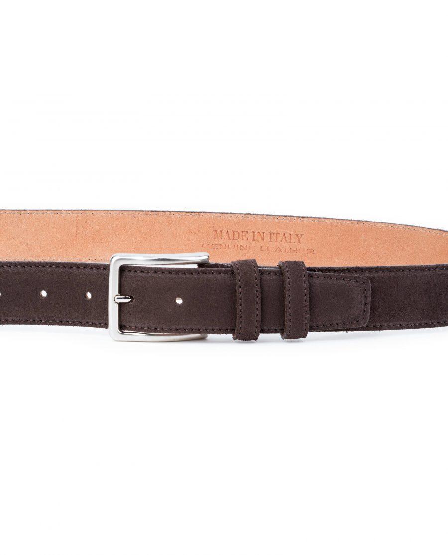 Dark-Brown-Suede-Belt-35-mm-Genuine-Leather-Capo-Pelle-On-trousers