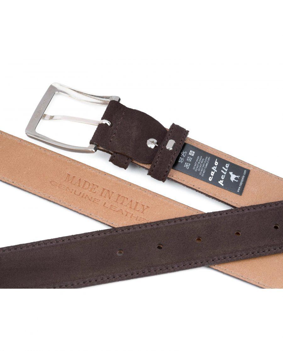 Dark-Brown-Suede-Belt-35-mm-Genuine-Leather-Capo-Pelle-Tags-Heat-stamp