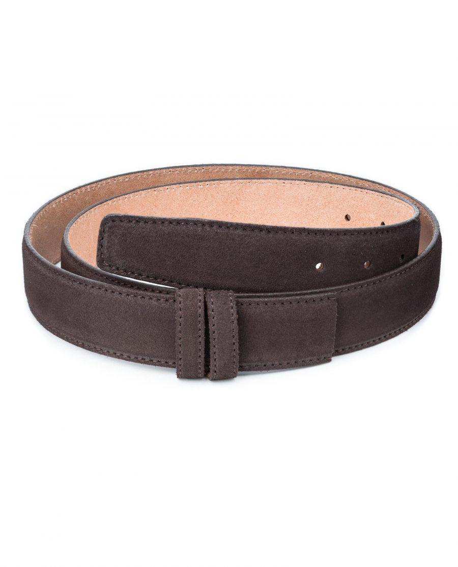 Dark-Brown-Suede-Belt-Strap-35-mm-Genuine-Leather-Capo-Pelle-First-picture