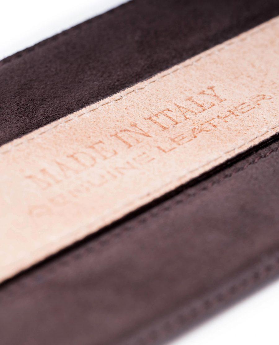 Dark-Brown-Suede-Belt-Strap-35-mm-Genuine-Leather-Capo-Pelle-Made-in-Italy-Heat-stamp
