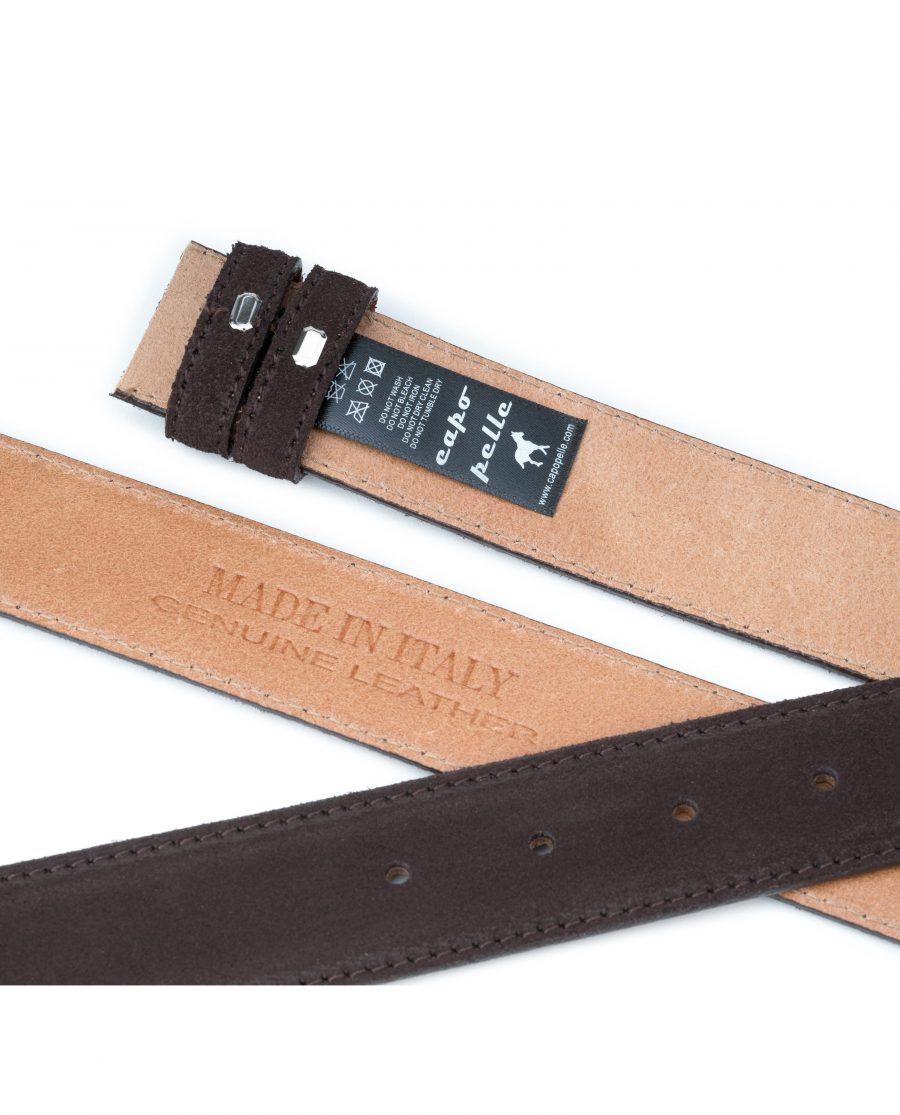 Dark-Brown-Suede-Belt-Strap-35-mm-Genuine-Leather-Capo-Pelle-Tags-image