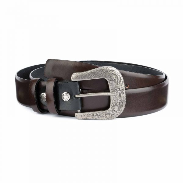 Dark-Brown-Western-Belt-Mens-Veg-Tan-Leather-Capo-Pelle