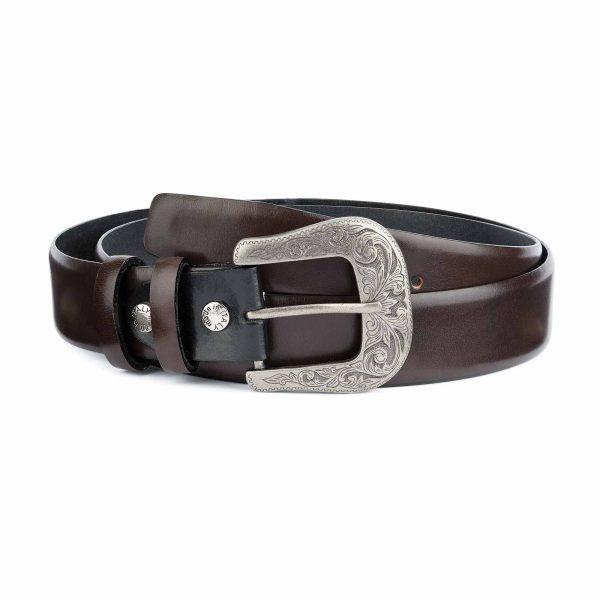 Dark-Brown-Western-Belt-Mens-Veg-Tan-Leather-Capo-Pelle