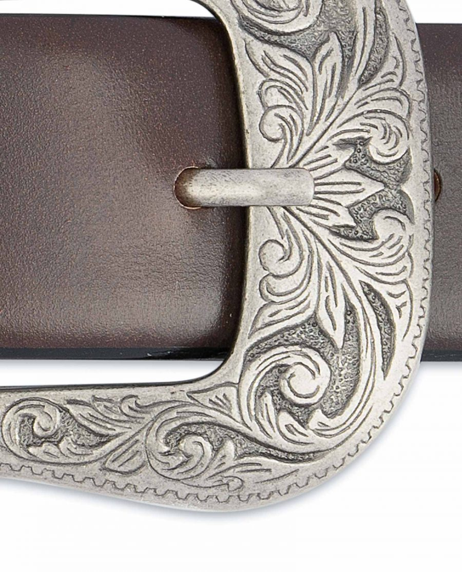 Dark-Brown-Western-Belt-Mens-Veg-Tan-Leather-Floral-engraved
