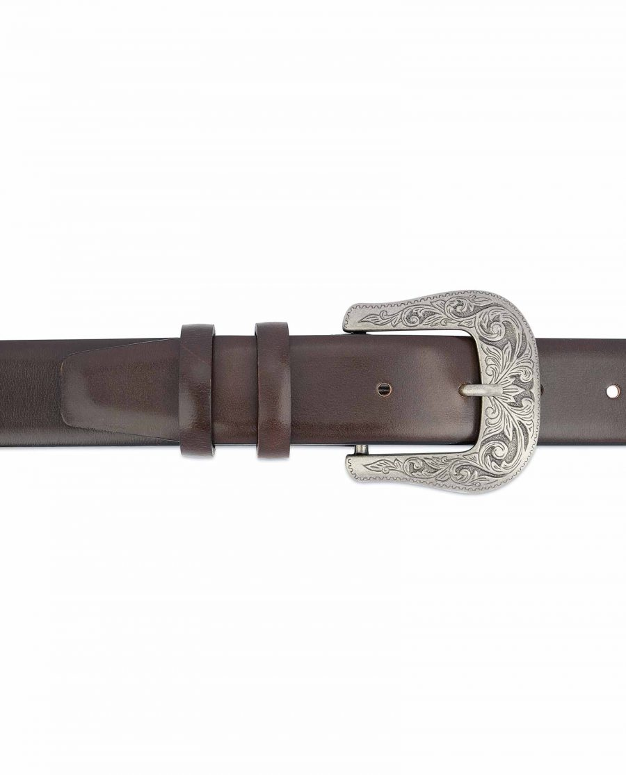 Dark-Brown-Western-Belt-Mens-Veg-Tan-Leather-Genuine