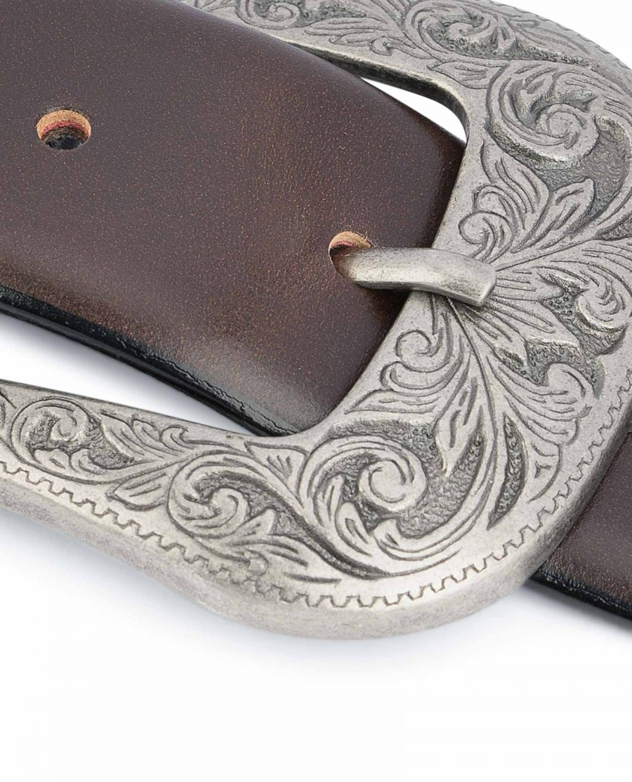 Dark-Brown-Western-Belt-Mens-Veg-Tan-Leather-Heavy-solid-buckle