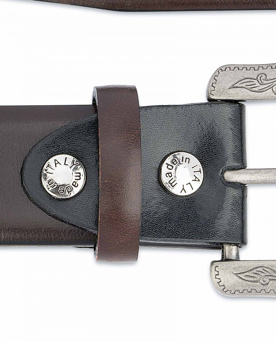 Dark-Brown-Western-Belt-Mens-Veg-Tan-Leather-Screws-Made-in-Italy