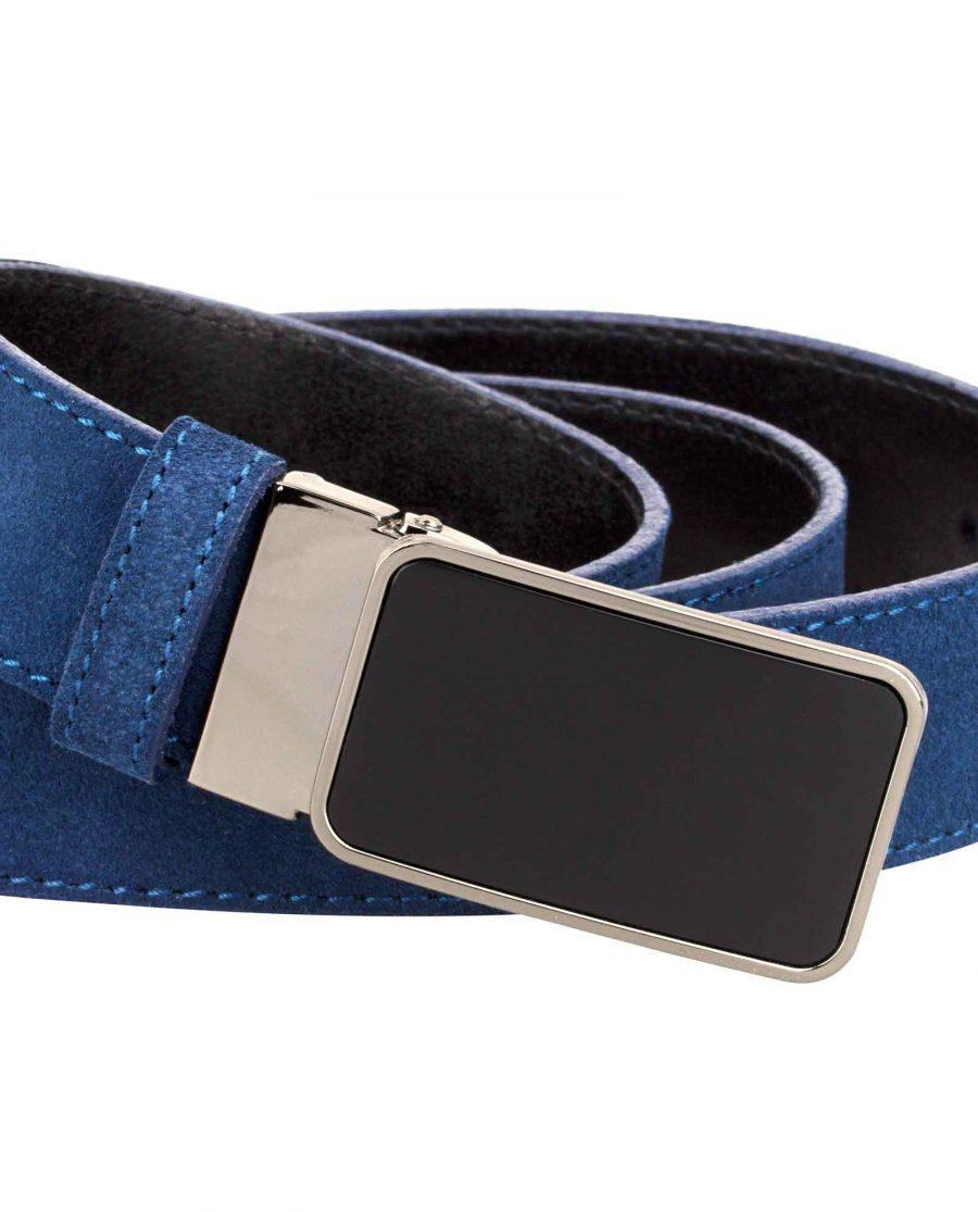 Designer-Blue-Suede-Belt-Close-image
