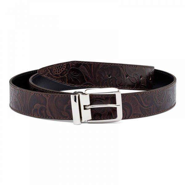 Flower-Embossed-Jeans-Leather-Belt-Italian-buckle