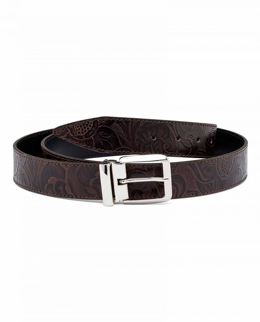 Flower-Embossed-Jeans-Leather-Belt-Italian-buckle