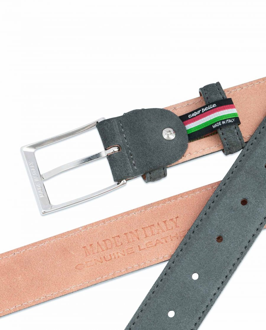 Gray-Suede-Belt-Mens-Hot-stamp-on-leather