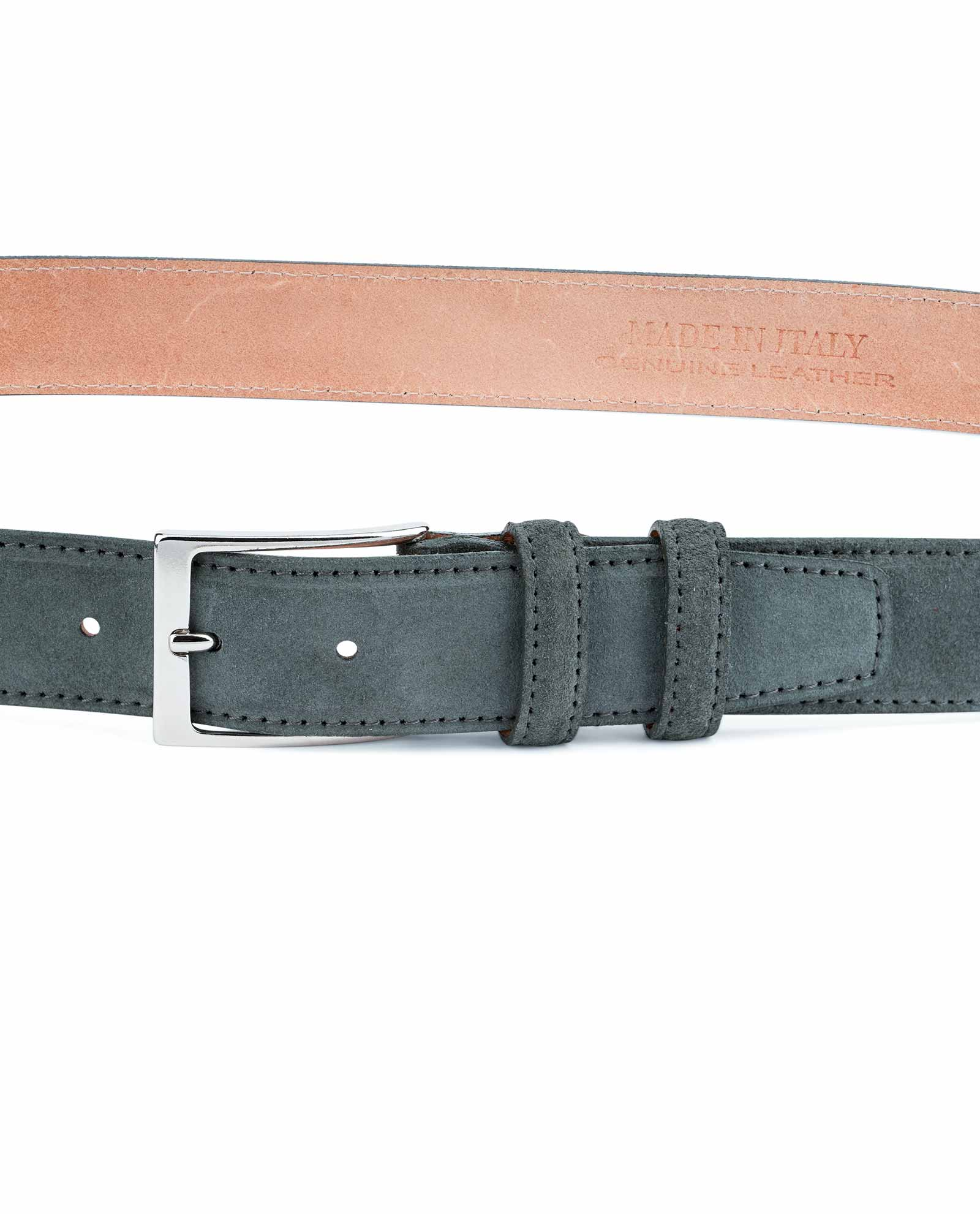 Dark Brown suede belt Men/'s 100/% Genuine leather by Capo Pelle Made in Italy