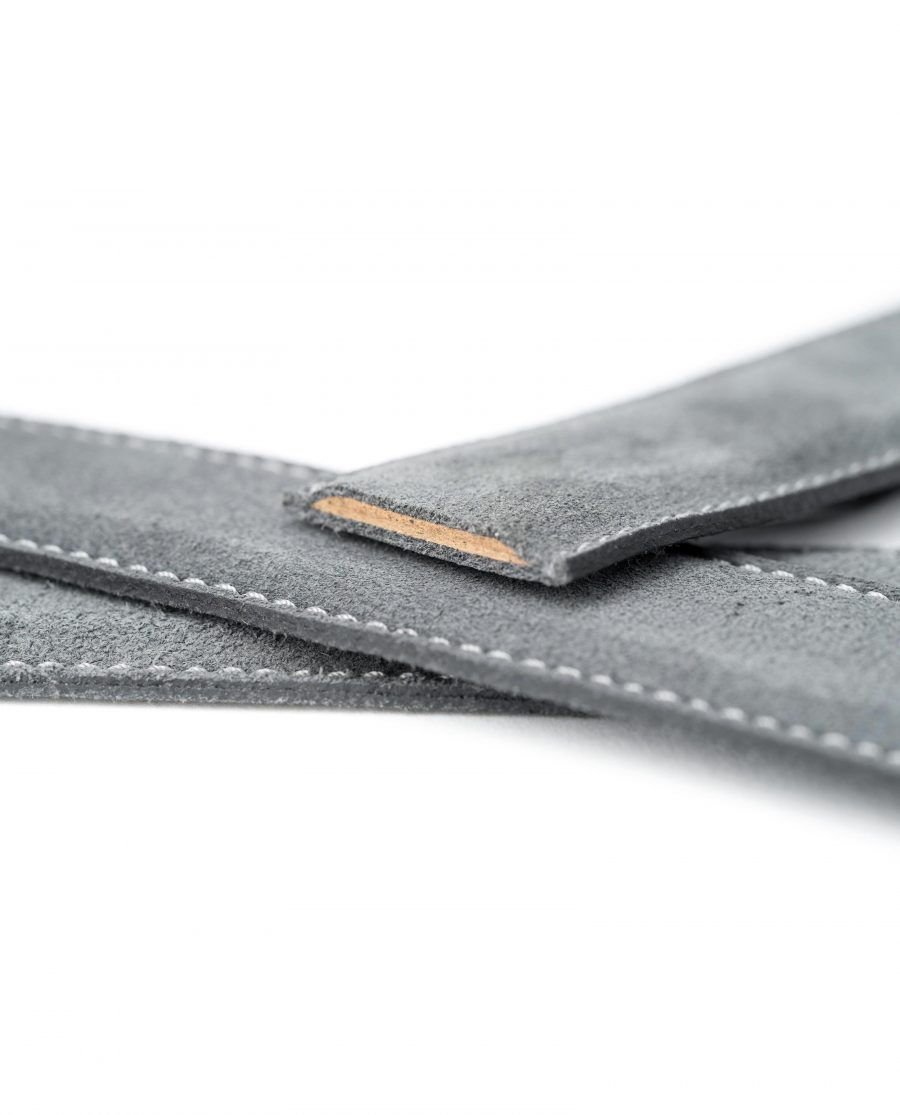 Gray-Suede-Belt-Strap-Gray-Italian-Leather-Capo-Pelle-Macro-Stitches