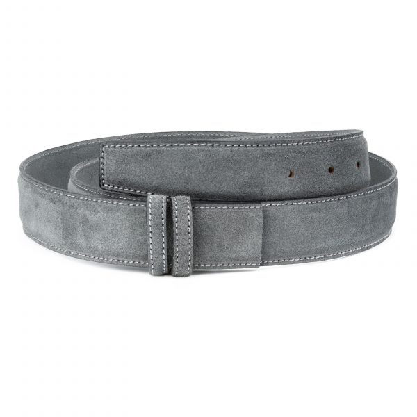 Gray-Suede-Belt-Strap-Gray-Italian-Leather-Capo-Pelle-Main-picture