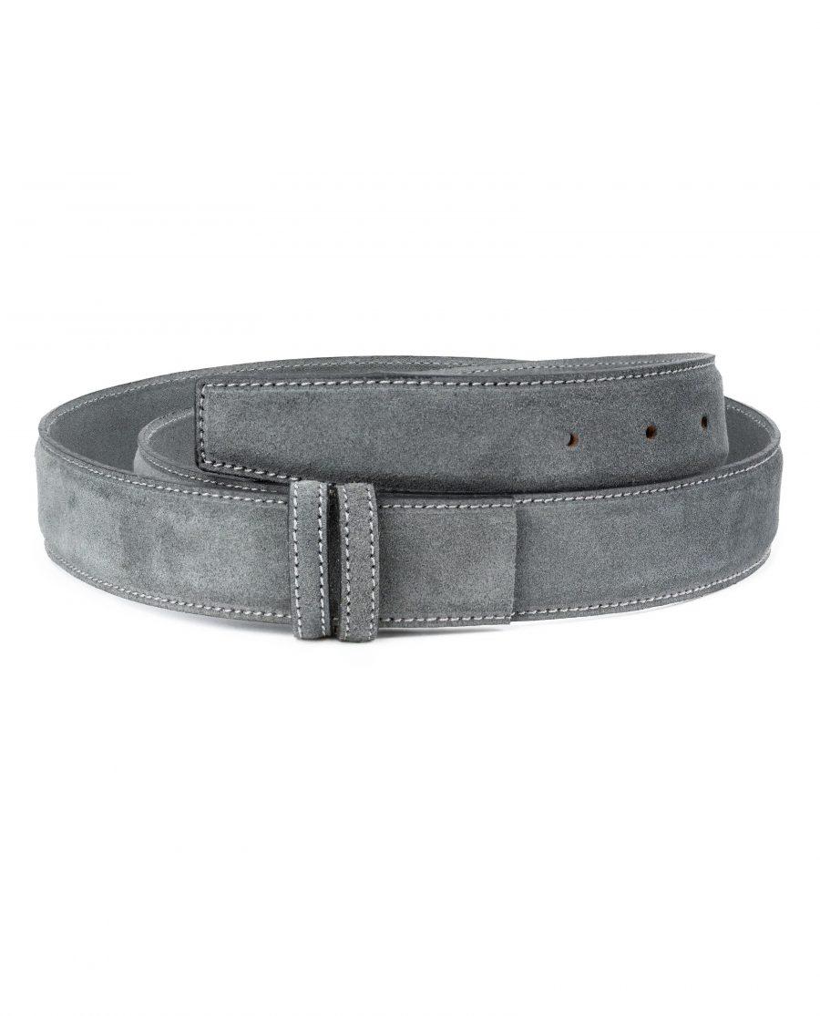 Gray-Suede-Belt-Strap-Gray-Italian-Leather-Capo-Pelle-Main-picture