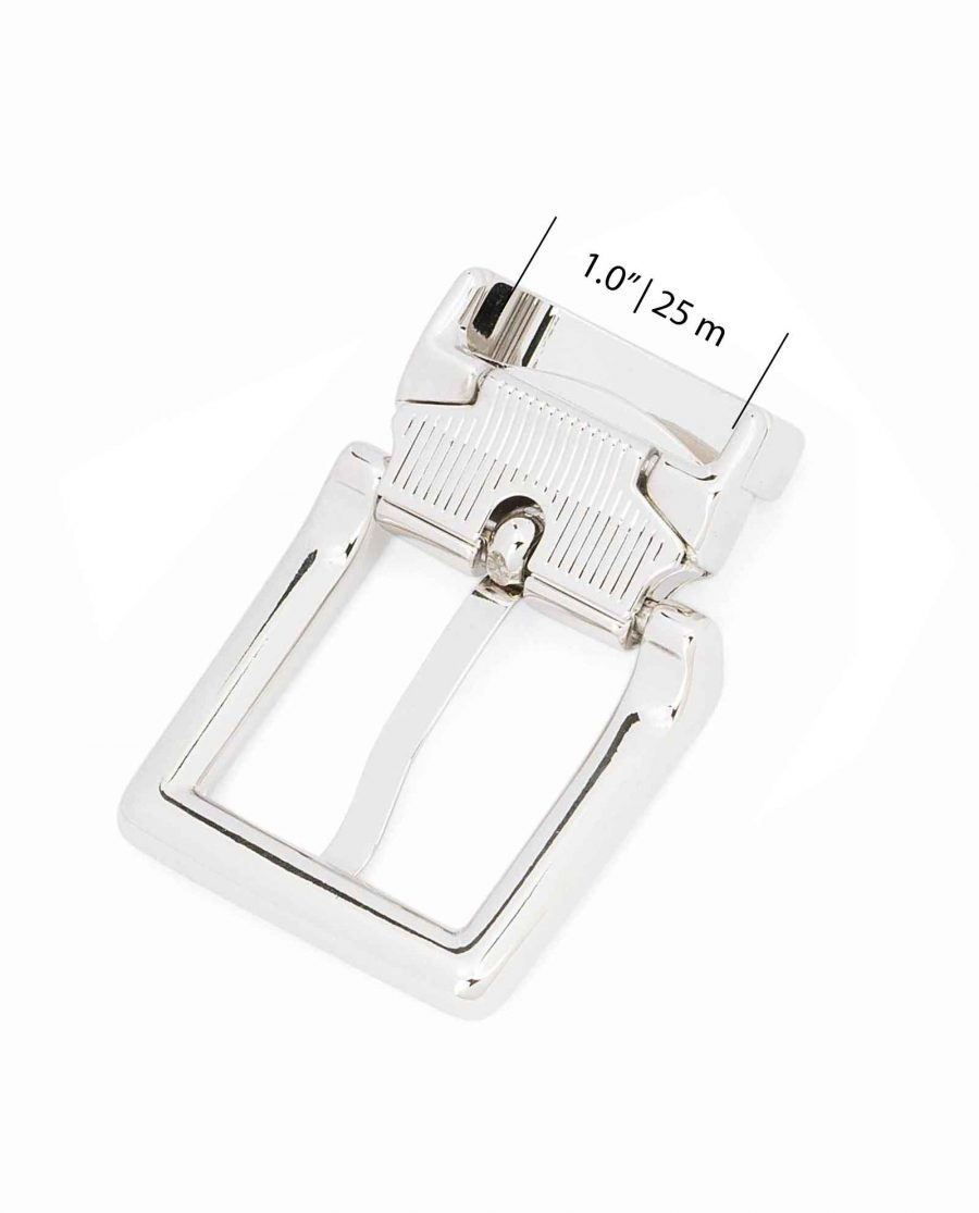 Italian-1-inch-Belt-Buckle-Square-Nickel-Clamp-on-Top-quality-Strap-fit-25-mm